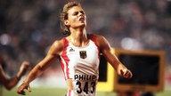 Katrin Krabbe sprintet bei der WM 1991 ins Ziel.