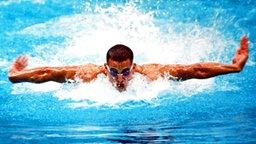 USA-Ausnahmeschwimmer Matt Biondi im 4x100-m-Lagenfinale der Herren in Seoul © picture-alliance / dpa