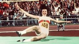 Sensationssiegerin in München: Die 16 Jahre alte Ulrike Meyfarth holt Gold und im Hochsprung mit (eingestelltem) Weltrekord von 1,92 m. © picture-alliance / dpa