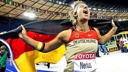 Unbändige Freude bei Speerwerferin Steffi Nerius © AP