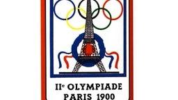 Das Olympialogo der 2. Olympischen Spiele der Neuzeit in Paris mit dem Eiffelturm und den Olympischen Ringen. © picture-alliance / dpa