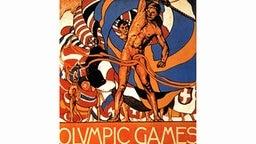 In Englisch wirbt dieses offizielle schwedische Plakat für die V. Olympischen Sommerspiele in Stockholm (29. Juni bis 22. Juli 1912). In der eleganten und verschlungenen Manier des Jugendstils sind Fahnen schwingende nackte Athleten dargestellt. © picture-alliance / dpa