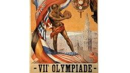 Ein junger Diskuswerfer in antiker Nackheit steht im Mittelpunkt dieses romantisch gestalteten Plakats, das den VII. Olympischen Spielen gewidmet ist. Die Spiele finden vom 07. Juli bis zum 12. September 1920 im belgischen Antwerpen (Anvers) statt. © picture-alliance / dpa