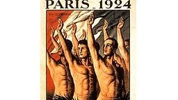 Die graphische Darstellung durchtrainierter Athletenkörper prägt die Gestaltung dieses Plakats zu den VIII. Olympischen Spielen, die vom 04. Mai bis zum 27. Juli 1924 in der französischen Metropole Paris ausgetragen werden. © picture-alliance / dpa