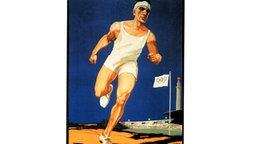 Die Figur eines Läufers ist das zentrale Motiv auf diesem Plakat zu den IX. Olympischen Spielen, die vom 17. Mai bis zum 12. August 1928 in Amsterdam ausgetragen werden. © picture-alliance / dpa