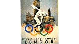 Das Plakat zu den XIV. Olympischen Spielen vom 29. Juli bis 14. August 1948 in London © picture-alliance / dpa