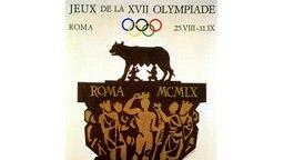 Hauptmotiv dieses Plakats zu den XVII. Olympischen Spielen, die vom 25. August bis zum 11. September 1960 in Rom ausgetragen werden, ist auf einem reichgeschmückten Kapitell die Kapitolinische Wölfin, die Romulus und Remus nährt, die legendären Gründer der Stadt. © picture-alliance / dpa