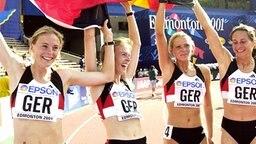 Nachträgliche Staffel-Weltmeisterinnen 2001: Rockmeier, Rockmeier, Wagner, Paschke (v.l.n.r.) © Picture Alliance/dpa