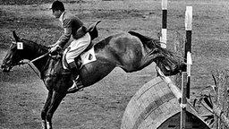 """Mit """"Wunderstute"""" Halla unterwegs zum Olympia-Gold: Deutschlands Springreit-Legende Hans Günter Winkler. © picture-alliance / dpa"""