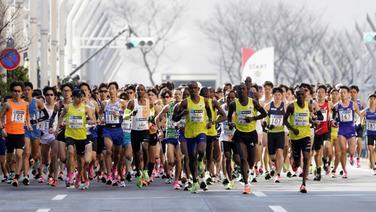 Marathonläufer in Tokio © picture alliance/Morio Taga/Jiji Press Photo/dpa Foto: Morio Taga