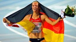 Verena Sailer gewinnt die Goldmedaille über 100 m der Frauen bei der Leichtathletik-EM 2010 in Barcelona. © picture alliance / Fotoagentur Kunz Foto: Anke Fleig/SVEN SIMON