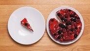 Ein Stück Kuchen liegt auf einem Teller, der Restkuchen auf einem anderen Teller daneben. © photocase.de Foto: Arnd Drifte