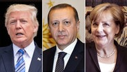 Donald Trump, Recep Tayyip Erdogan und Angela Merkel. © Turkish President Press Office/H, Cheriss May, abaca Fotograf: Turkish President Press Office/H, Cheriss May, abaca