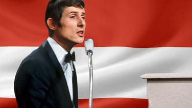 Udo Jürgens vor der Österreichischen Flagge. (Bildmontage) © Fahne: Fotolia, Quelle Künstler: picture-alliance / dpa Foto: Fahne: Juergen Priewe, Fotograf Künstler: Ducklau