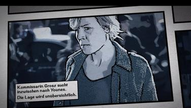 Kommissarin Grosz sucht nach einem Jungen, der sich auf einem Fabrikgelände versteckt.