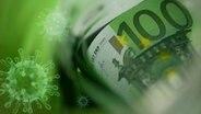 Stilisierte Coronaviren sind über einen Geldschein projiziert (Montage) © photocase, Fotolia Foto: PolaRocket, psdesign1