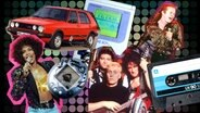 "Tamagotchi, Bild von Whitney Houston, Sänger von ""Simply Red"", Musikgruppe ""Die Ärzte"", Audiokassette, Game Boy, VW Golf vom Typ GTD (Montage) © picture-alliance/dpa, Picture-Alliance / Photoshot, Dmitry Naumov - Fotolia, Colourbox, imago/Thomas Eisenhuth"