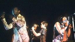 """Die aus internationalen Sängern und Sängerinnen bestehende Musikgruppe """"Les Humphries Singers"""" bei einem Auftritt am 12.2.1973. © dpa - Bildarchiv"""