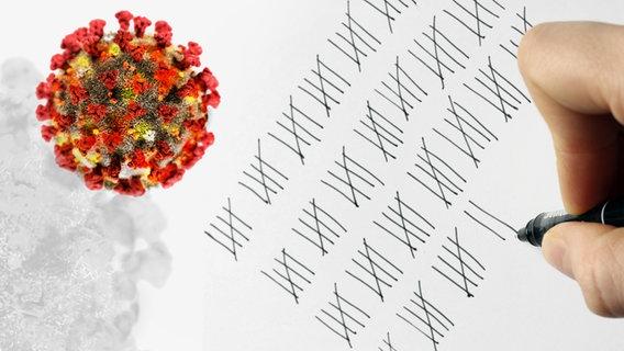 Jemand macht eine Strichliste neben der Abbildung von Viren. © picture alliance, panthermedia Foto: Image Broker