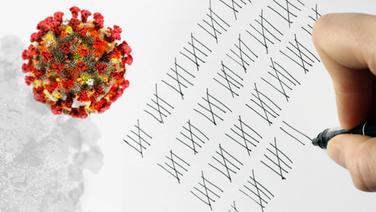 Jemand macht eine Strichliste neben der Abbildung von Viren. | picture alliance, panthermedia